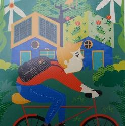 Afbeelding › De groene fietser